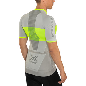 X-Bionic Invent 4.0 Bike Race Maillot Manches courtes Zip Homme, dolomite grey/phyton yellow